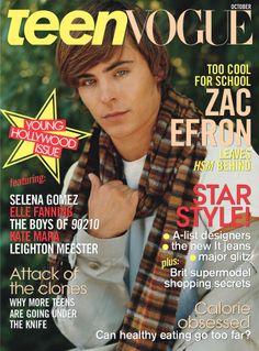 Zac Efron na capa da revista Teen Vogue (Outubro de 2008)