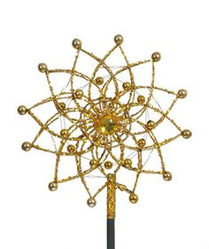 11 Lighted Gold Glitter Starburst Christmas Tree Topper -Candlelight LED Lights 30882441 | ChristmasCentral