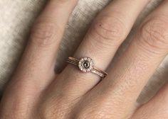 Rose Gold Ring Set Rose Gold Diamond Set Rose Gold by MinimalVS