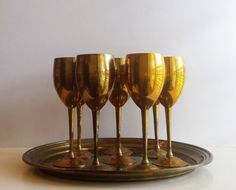 Brass Wine Goblet Set & Tray  Set of 8 Vintage by CurrentClassic, $58.50