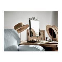 IKEA - KARMSUND, Miroir de table, , Le plateau sous le miroir peut vous servir à ranger bijoux ou produits de maquillage.Choisissez le style de votre miroir en choisissant de placer l'ornement sur le dessus ou non.Miroir pivotant.Le miroir peut être posé sur une table ou une commode, ou accroché au mur.Peut être installé dans toutes les pièces de la maison, dont la salle de bain car testé et approuvé pour cet usage.Miroir avec pellicule anti-éclats au dos.