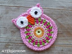 Owl crochet applique by ATERGcrochet
