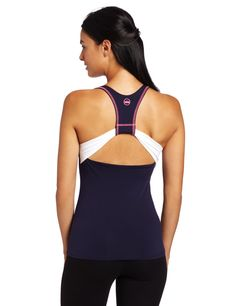 SOLOW Women's Workout Tank in Navy & White