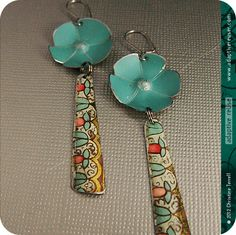 Aqua Vintage Blossoms    Upcycled Tin Dangle by christineterrell, $32.00