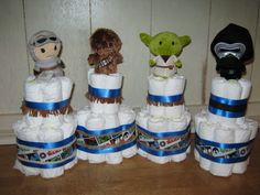 Star Wars Diaper cakes for baby shower - made with Hallmark Itty Bittys!