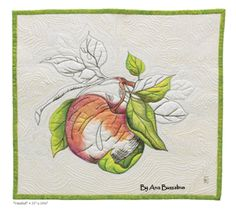 fabric painting on wholecloth quilt by ana buzzalino (Quilting Arts Aug/Sept 2013) Uses Derwent Inktense watercolor pencils & blocks) [my muse; several ways of using this]