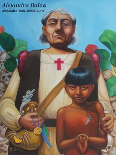 """It was very hard to paint Colombus after read all the spanish cronicles I could. I made this painting to participate in an art competition for the festivities of Nov 19th, 2014 in my town of Aguada, Puerto Rico. The theme was to represent elements that describes the """"discovery"""" of PR.  I painted Colombus representing what he brought to Caribbean and the Americas: slavery, theft and the genocide of a culture."""