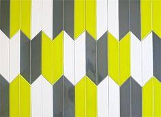 Modwalls.com - source for pretty and unique tiles Ceramic Chevron subway tile for kitchen backsplash or bathroom tile in green color Chartreuse.