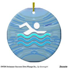 SWIM Swimmer Success Dive Plunge Success NVN238 Double-Sided Ceramic Round Christmas Ornament