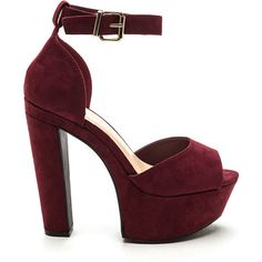 Fine Vintage Chunky Platform Heels BURGUNDY (€20) ❤ liked on Polyvore featuring shoes, pumps, red, peep toe pumps, thick-heel pumps, high heel pumps, peep toe platform pumps and thick heel platform pumps