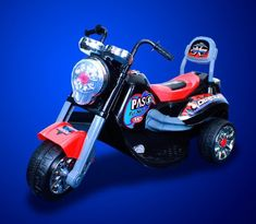 New Battery Powered Kids Ride On Toy Chopper Motorcycle Car 3 Wheel - Black