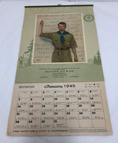 1945 Calendar Poster Boy Scout Pledge America by Norman Rockwell  #Vintage