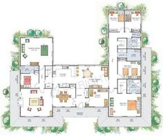 U Shaped House Plans With Courtyard With Family Room And Longe Room ...