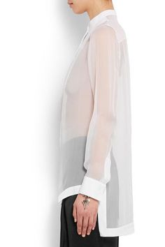 Givenchy - Shirt In White Silk-georgette And Cotton-poplin - FR34