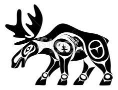 Élan, Culture indigène, Tradition hindi, Inuit, Haïda Illustration vectorielle libre de droits