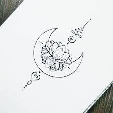 Lotus & moon tattoo.