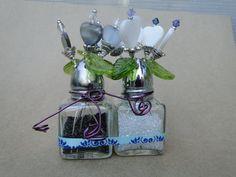 Salt & pepper shaker bead flower vases by SplatCatDesigns on Etsy, $12.00