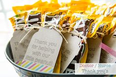 Cute idea! Hospital Thank Yous for Baby. I brought bags of my yummy snack mix when Silas was born :)