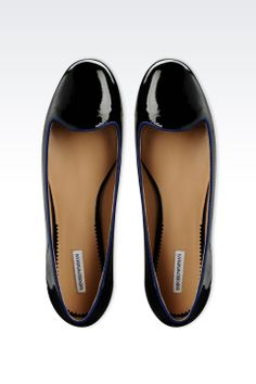 Emporio Armani Women Ballet Flats - LEATHER SLIPPER WITH PATENT EFFECT Emporio Armani Official Online Store