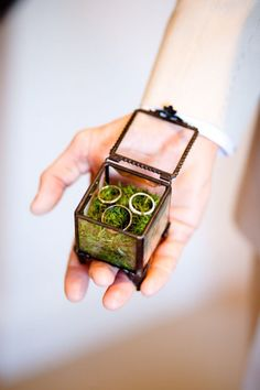 LOVE this idea. Instead of using the box the jeweler provided, decorate a old glass box with fresh moss.