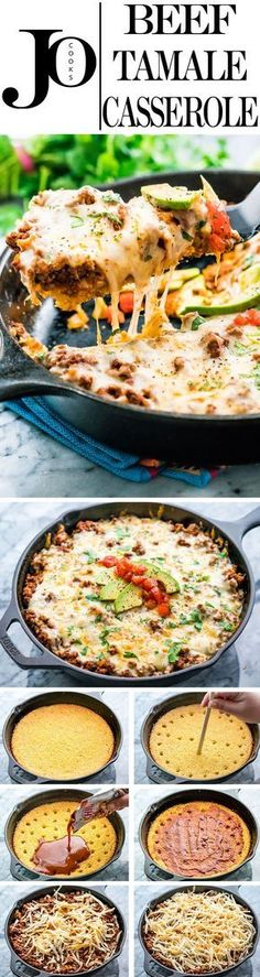 This Beef Tamale Casserole will certainly make your dinner time easy. We're talking comfort food to the max, layers of cornbread, enchilada sauce, spiced ground beef, loaded with cheese then baked to (Dinner Recipes With Ground Beef) Mexican Dishes, Mexican Food Recipes, Dinner Recipes, Dinner Ideas, Indian Recipes, Shrimp Recipes, Lunch Recipes, Pasta Recipes, Appetizer Recipes