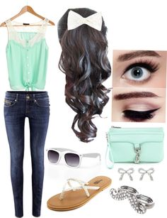 casual mint outfit<3 with a cardigan or something