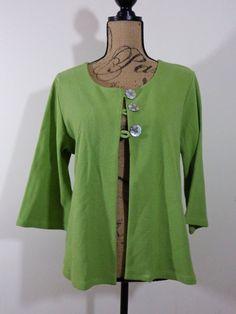 Artist Chalet USA jacket lagenlook top artsy art wear green upscale Cotton sz L #ChaletUSA #BasicJacket
