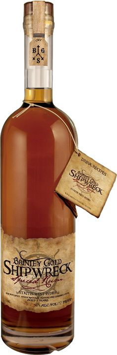 Brinley Gold Shipwreck Rum. Shipwreck hails from St. Kitts and is aged for four years before being juiced up with exotic (and unnamed) spices
