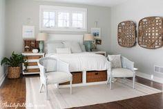 Benjamin Moore Arctic Gray in a Coastal Master Bedroom Décor.  By LilyPad Cottage
