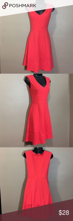 """Cynthia Rowley Fit & Flare Dress Coral color Fit and Flare style. Sleeveless. V Neckline. Back hidden zip closure. Worn once. No flaws. 85% nylon. 15% spandex. 100% polyester lining. 34.5"""" length from top of shoulder to hem. 26"""" waist plus 1"""" stretch. Shoes and bag are for sale in my closet. BUNDLE AND SAVE!!! Cynthia Rowley Dresses"""