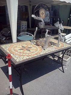 tavolo in pietra mosaico 160x90 in ferro battuto giardino esterno