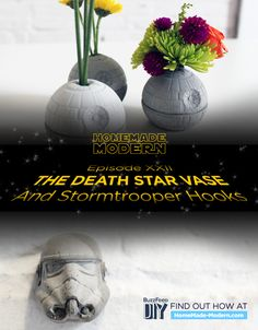 Make Your Own Death Star vase or Storm Trooper drawer pull out of concrete and silicone ice cube tray