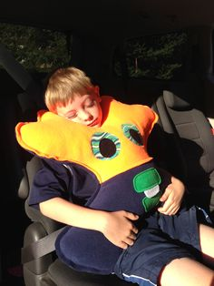 Amiba Monsters are stuffed toys/headrests for kids made in #Halifax, #NovaScotia - no more sore necks during road trips!