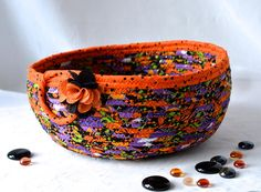 "Use Etsy discount coupon code ""pinten""   Halloween Decoration Basket Handmade Halloween Bowl Fall"
