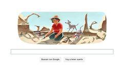 Doodle dedicado por Google a Mary Leakey el 6 de febrero de 2013 en el centenario de su nacimiento