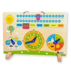 motr509-01-reloj-calendario-y-estacion-de-tiempo-de-madera-juguete-educativo-de-madera-que-ayuda-al-desarrollo-del-nino Preschool Calendar, Homework Station, Activity Board, English Words, Felt Toys, Educational Toys, Teaching Kids, Baby Toys, Crafts To Make