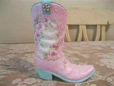 Shabby Chic Cowboy Boot - just listed today!!  - check it out!!!  - http://www.ebay.com/itm/390880193729?ssPageName=STRK:MESELX:IT&_trksid=p3984.m1555.l2649