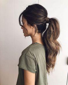 Pin by Fjolla on Hairs in 2019 Messy Ponytail Hairstyles, Long Ponytails, Long Hair Ponytail Styles, Low Pony Hairstyles, Updo Hairstyle, Short Hairstyle, Bridesmaid Ponytail, Elegant Ponytail, Formal Ponytail