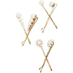 Darling You Can 'Do It Hair Pin Set by ModCloth (17 BRL) ❤ liked on Polyvore featuring accessories, hair accessories, hair, jewelry, modcloth, hair clip, cream, other accessory, hair pins and barrette hair clips