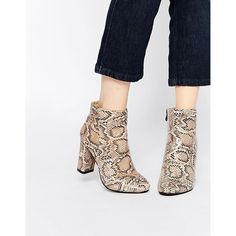 Daisy Street Snake Print Block Heeled Ankle Boots ($63) ❤ liked on Polyvore featuring shoes, boots, ankle booties, snake effect, snake skin boots, high heel ankle booties, crocs boots, short boots and zippered faux leather booties