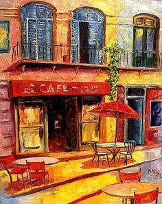 #Art #Buildings - Café beautiful rich colours... http://www.ablankcanvas.net