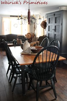 Our dining room with sitting area at the far end.... <3 https://www.facebook.com/pages/Weiricks-Primitives/182707055133836