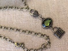Vintage Copper and Green Crystal Necklace, Long Copper Chain Necklace, Green Crystal and Copper Pendant Necklace by RedWillowCreations on Etsy