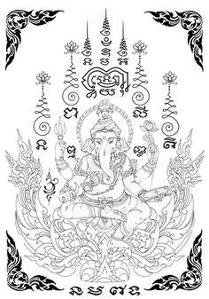 Thai Tattoo, Budist Tattoo, Khmer Tattoo, Ganesh Tattoo, Tattoo Bein, Sak Yant Tattoo, Sanskrit Tattoo, Body Art Tattoos, Small Tattoos