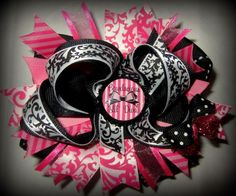 """""""Bowdacious Lil' Diva"""" Stacked Boutique Hair Bow"""
