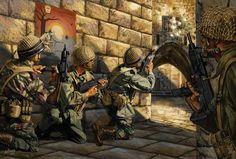 Paracaidistas de la FDI en combate en las calles de Jerusalen durante la Guerra de los Seis Dias en junio de 1967.
