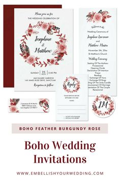 Boho wedding invitations featuring a boho wreath with roses and feathers. Please visit our website to see the full range of matching wedding stationery. #weddings #weddinginvitations #weddinginvites #weddingstationery #bohowedding #bohemianwedding #bohoweddinginvitations #bohemianweddinginvitations #bohoweddinginvites #burgundyweddinginvitations #featherweddinginvitations