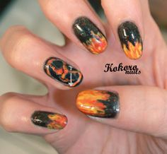The Hunger Games  ~ Katniss's nails for the tribute parade & durring her first games <3