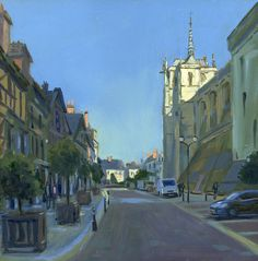 Amboise, france, chateau, oil painting