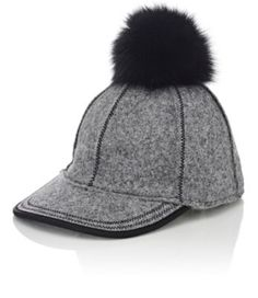 Lola Hats Fur Pom-Pom Baseball Cap at Barneys New York